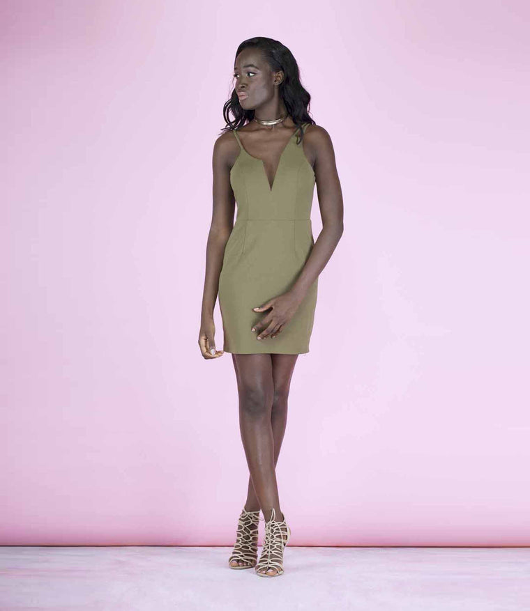 'Out On The Town' Khaki Green Plunge Triple Strap Dress
