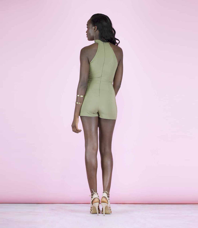 'On Point' Olive Green T-Bar Choker Playsuit