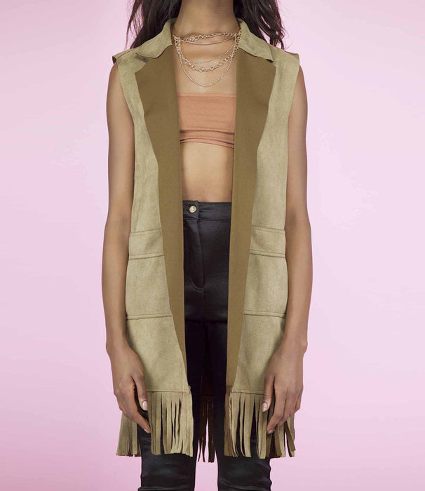 'Wasted' Khaki Green Two Toned Longline Faux Suede Sleeveless Jacket