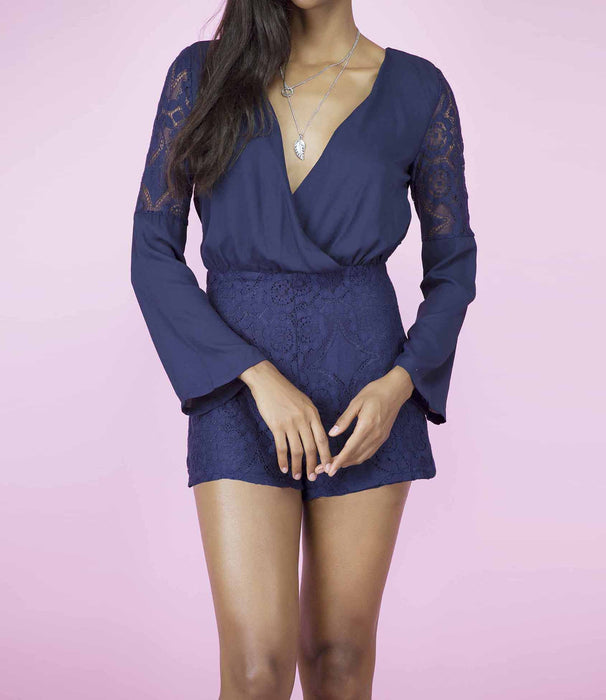 'Laced With Style' Navy Blue Lace Long Sleeved Racer Back Playsuit