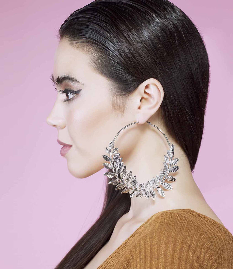 'Leaf It Out' Silver Grecian Leaf Detailed Large Hoop Earrings
