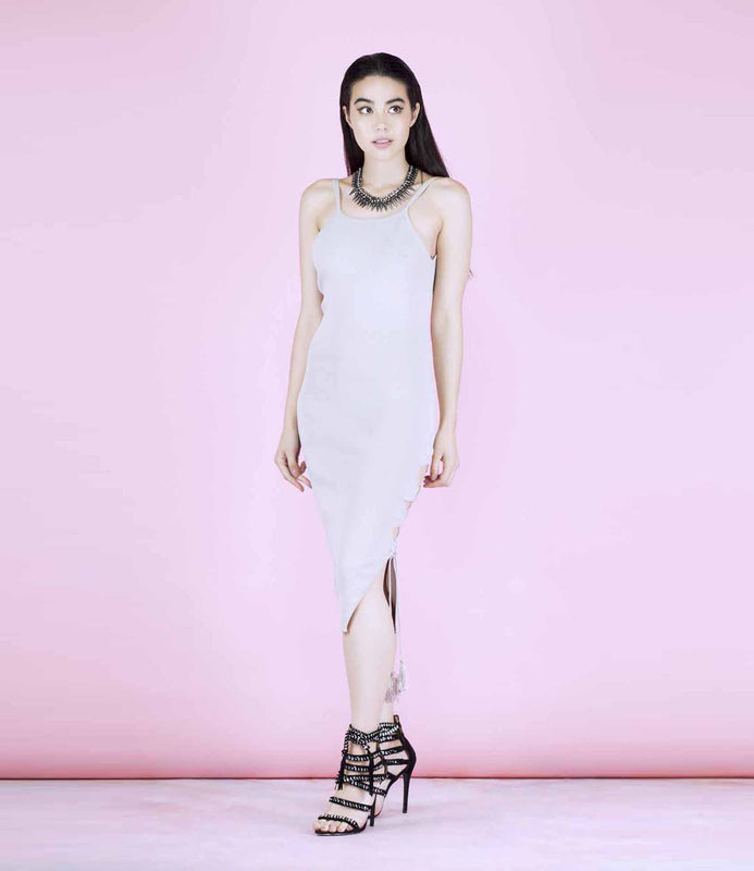 'All Night' Light Grey Ribbed Back Scoop Dress