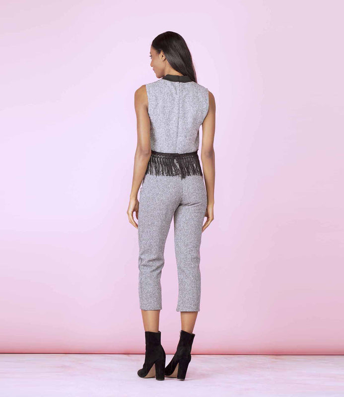 'On Fire' Light Grey Tasseled Two Piece Co-Ordinate Trouser Set