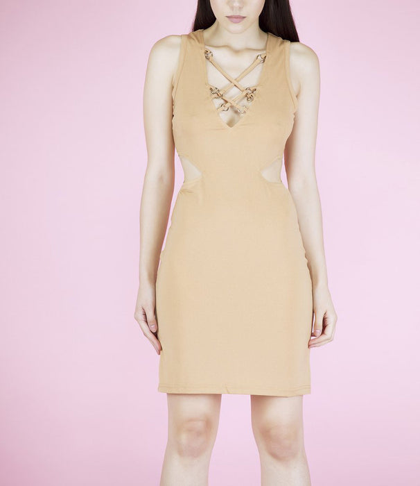 'Becky' Beige Harness Lace Up Cutout Dress