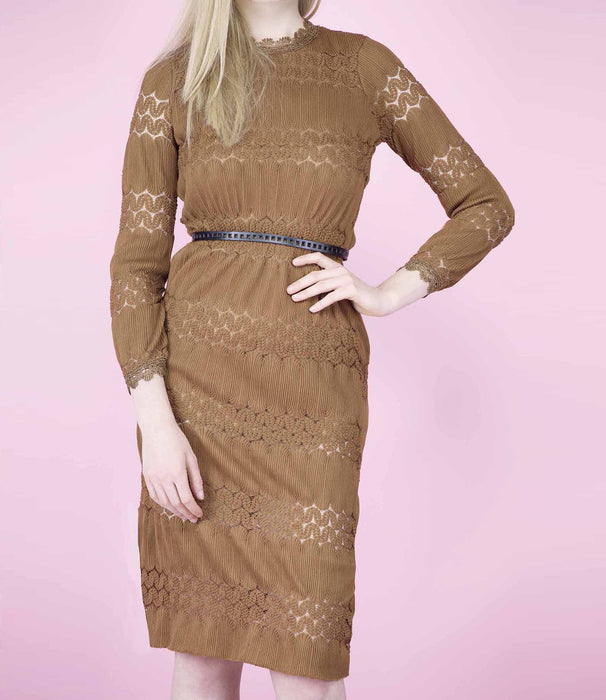 'Victoria' Mid Tan Gothic Lace Midi dress