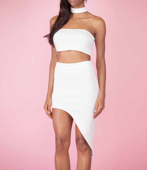 'Attitude' Ivory Crop Top and Asymmetric Skirt Co-Ordinate Set