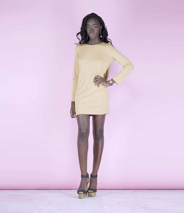 'Back Off' Long Sleeved Cowl Back Mini Dress