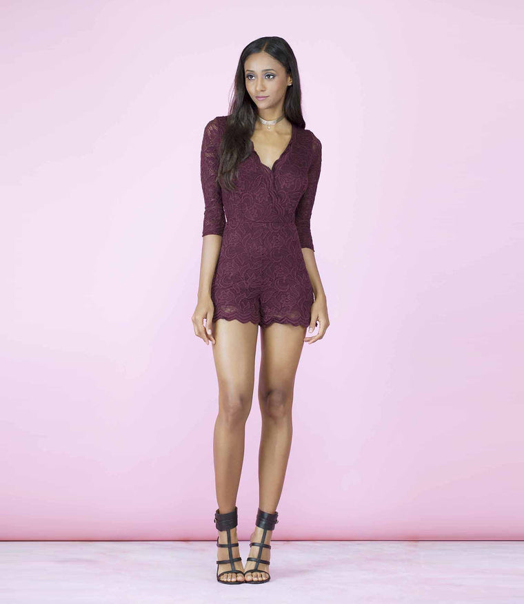 'Laced Up' Deep Purple Lace Playsuit