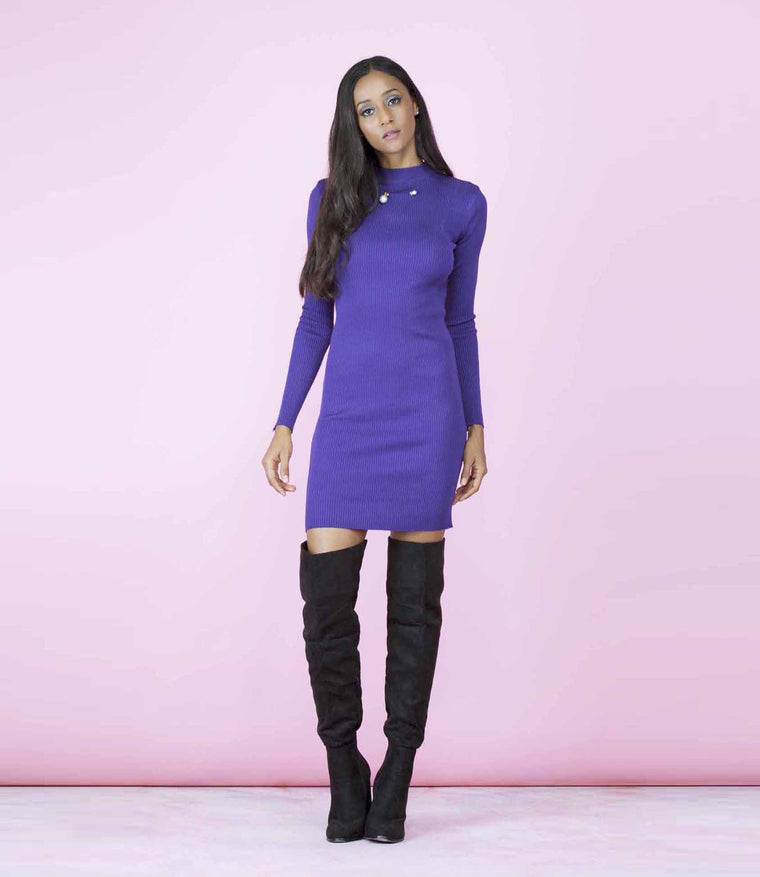 'Downtown' Purple Faux Pearl Pin Ribbed Jumper Dress
