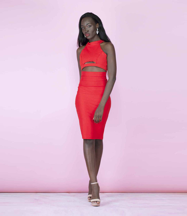 'Scandalous' Red Two Piece Backless Crop Top and High Waisted Midi Co-Ordinate Set