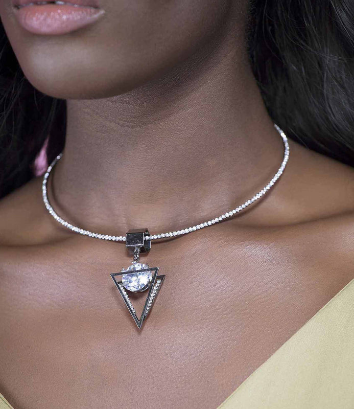 'Rock Your World' Silver Diamonte Pyramid Necklace