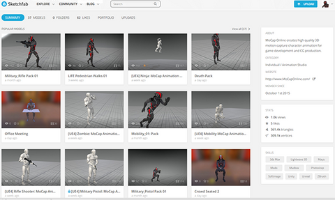 Motion Capture Online On Sketchfab 3D Viewer