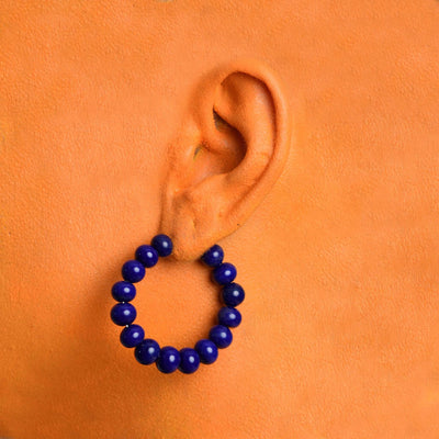 Centouno Cobalt Blue Round Earrings Earrings by Cosima Montavoci - Sunset Yogurt
