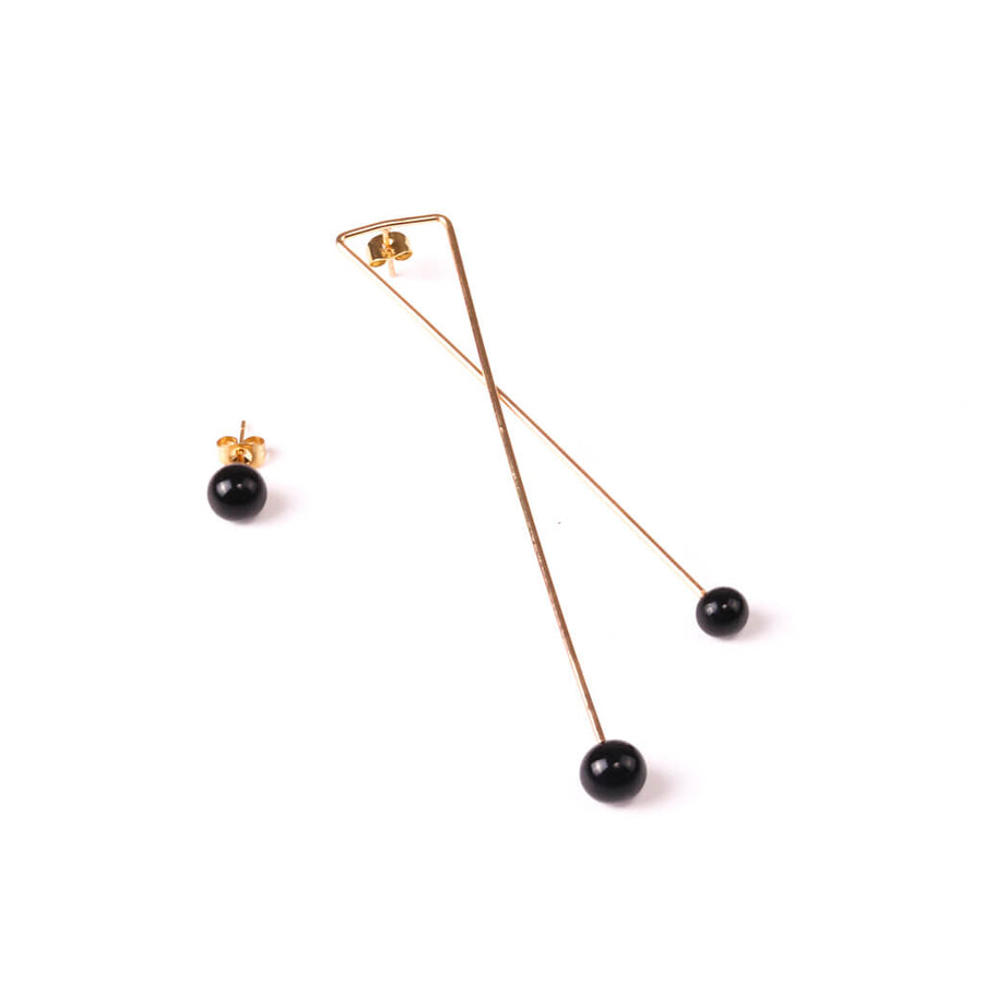 Centouno Statement Earrings Black