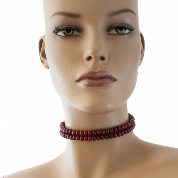 Centouno Bordeaux Choker Necklace Necklace by Cosima Montavoci - Co Glass Jewellery