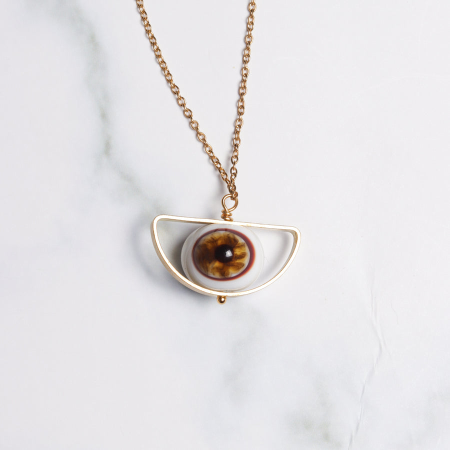 Golden Eye Pendant Necklace