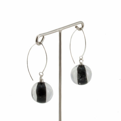 Biglia Black Long Earrings Earrings by Cosima Montavoci - Co Glass Jewellery