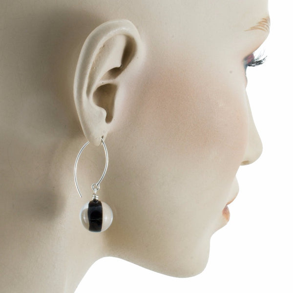 Biglia Long Black Earrings by Cosima Montavoci - Co Glass Jewellery