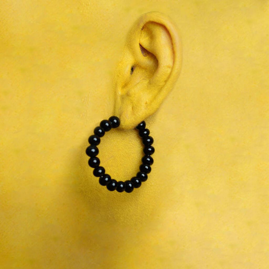 Centouno Black Round Earrings