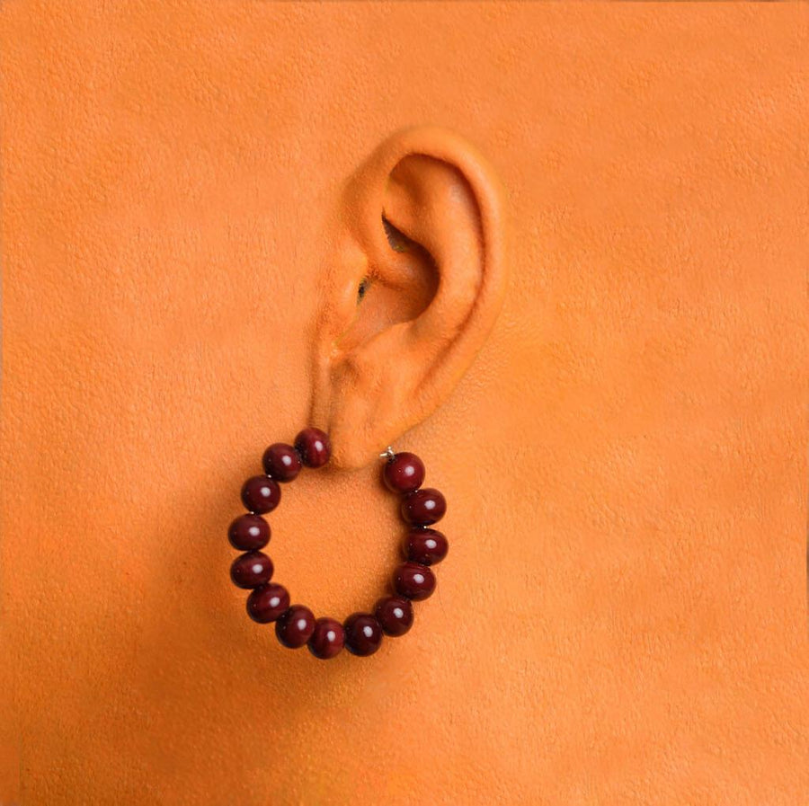 Centouno Bordeaux Round Earrings
