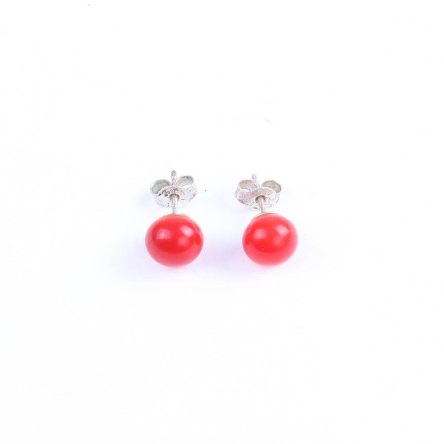 Centouno Red Stud Earrings