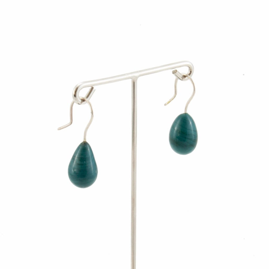 Inki Drop Dark Green Earrings by Cosima Montavoci - Co Glass Jewellery