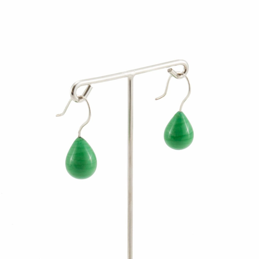 Inki Drop Grass Green Earrings by Cosima Montavoci - Co Glass Jewellery
