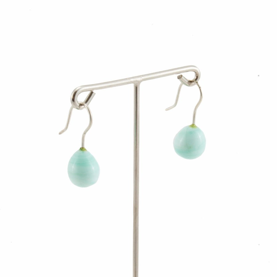 Inki Drop Marble Green Earrings by Cosima Montavoci - Co Glass Jewellery