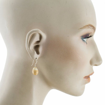 Inki Drop Dark Ivory Earrings by Cosima Montavoci - Co Glass Jewellery