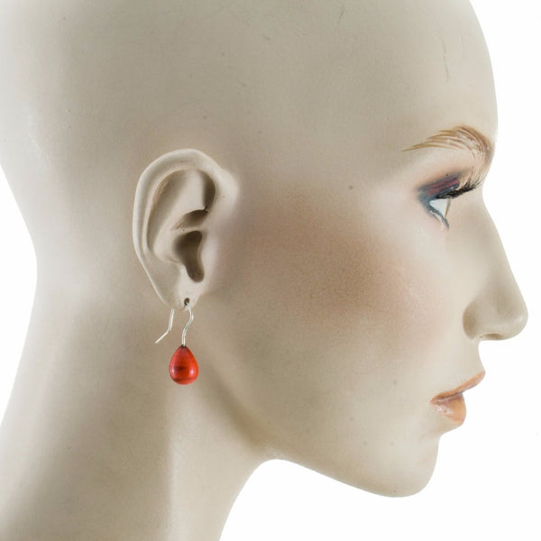 Inki Drop Red Earrings by Cosima Montavoci - Co Glass Jewellery