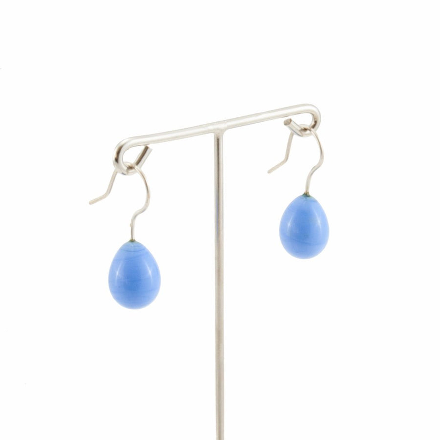 Inki Drop Periwinkle Earrings by Cosima Montavoci - Co Glass Jewellery