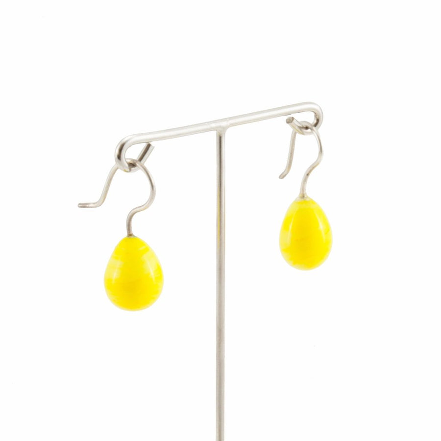 Inki Drop Canary Yellow Earrings by Cosima Montavoci - Co Glass Jewellery