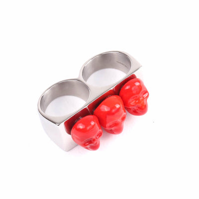 Skull Two Fingers Ring Red