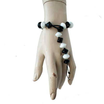 Snake Tie Black & White Bracelet Bracelets by Cosima Montavoci - Sunset Yogurt