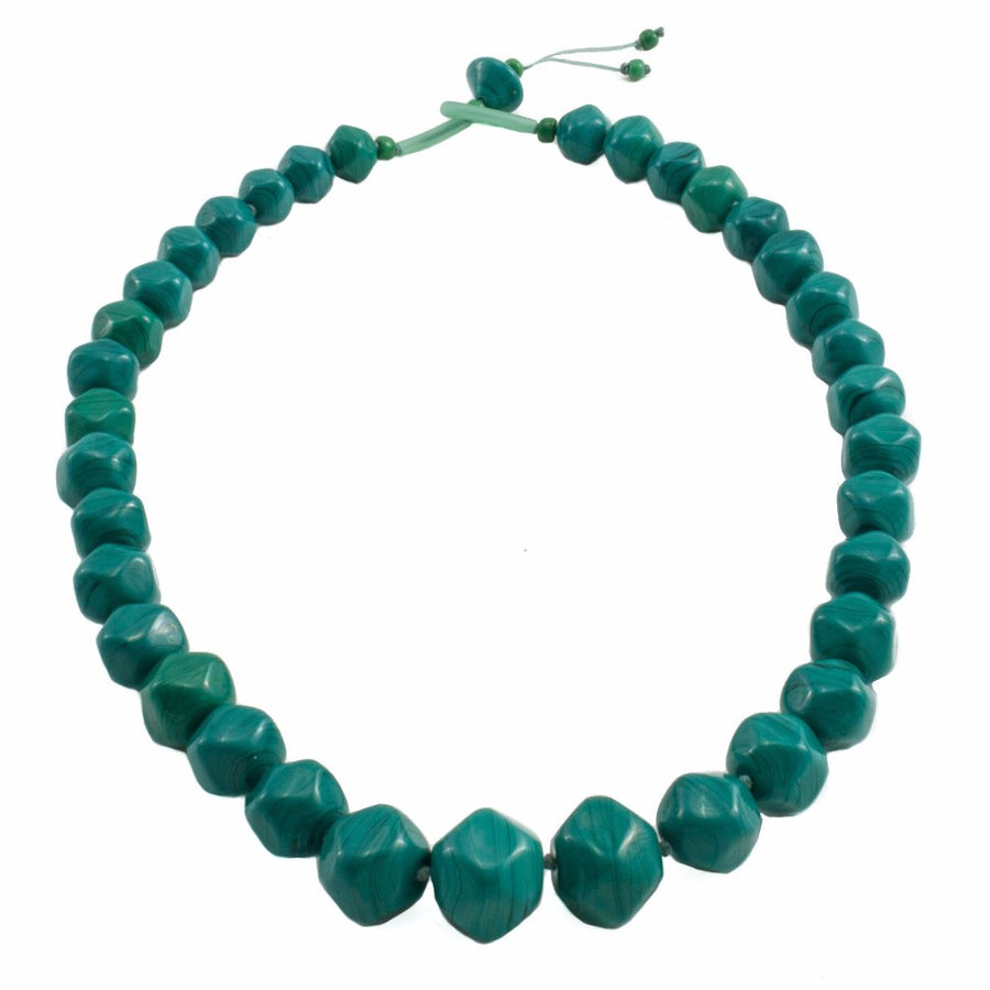 Squarebeat Dark Green Necklace Necklace by Cosima Montavoci - Co Glass Jewellery