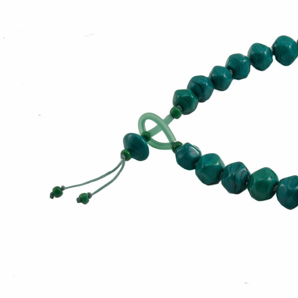 Squarebeat Dark Green Necklace by Cosima Montavoci - Co Glass Jewellery