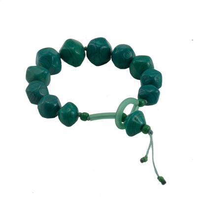 Squarebeat Dark Green Bracelets by Cosima Montavoci - Co Glass Jewellery