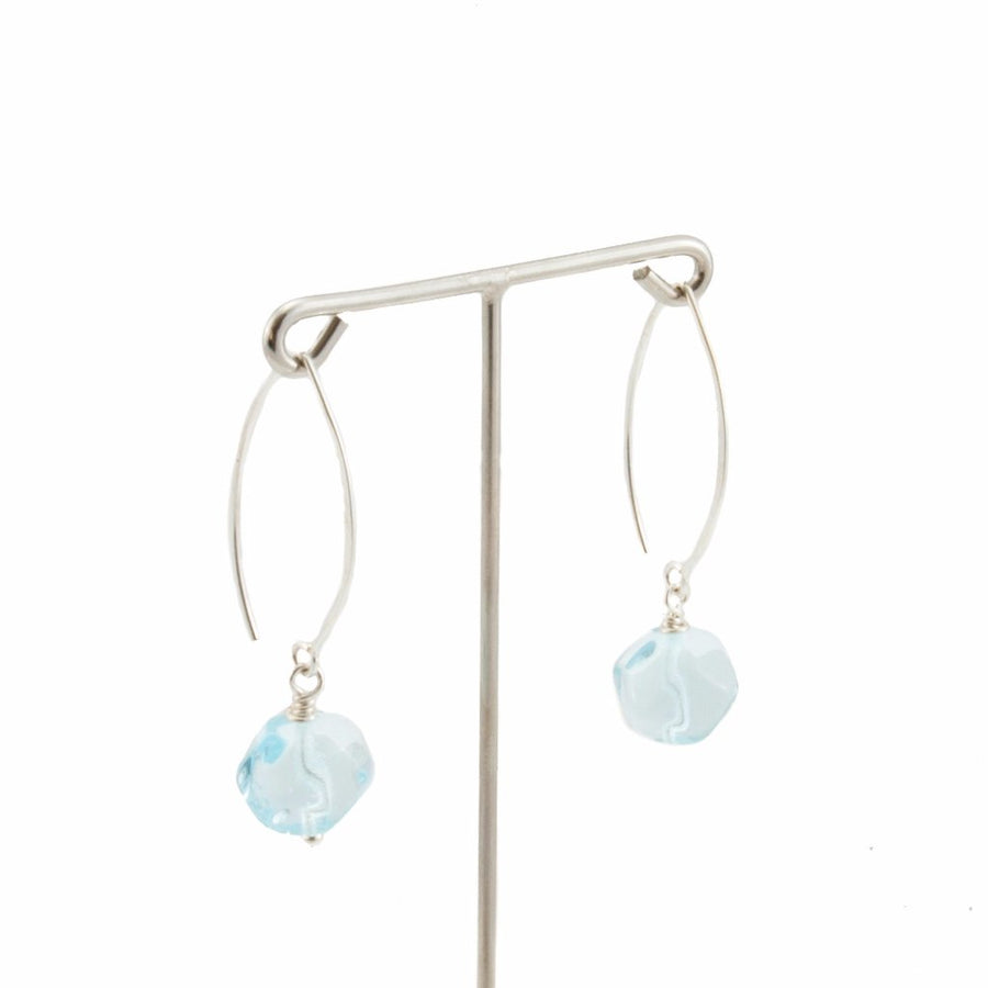 Squarebeat Aquamarine Dangle Earrings