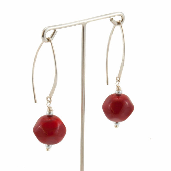 Squarebeat Dark Red Earrings by Cosima Montavoci - Co Glass Jewellery