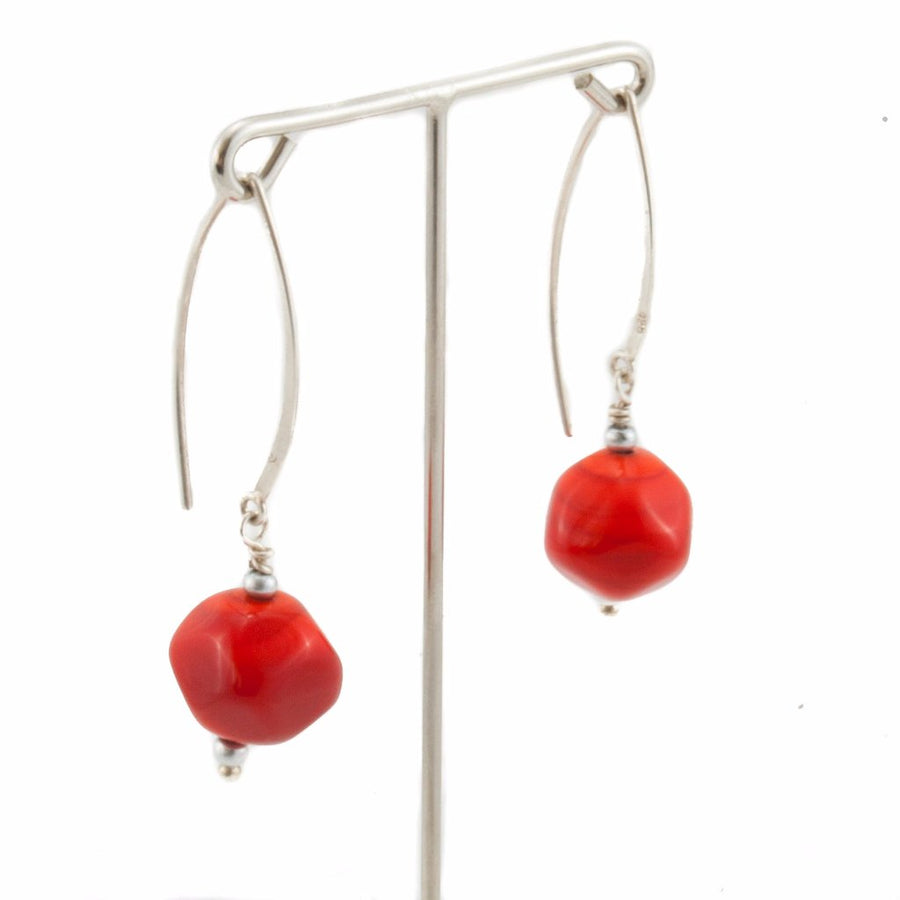Squarebeat Red Dangle Earrings