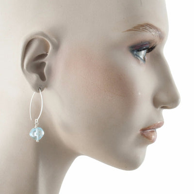 Squarebeat Aquamarine Earrings by Cosima Montavoci - Co Glass Jewellery