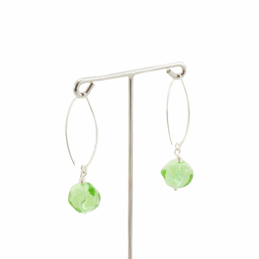 Squarebeat Uranium Dangle Earrings Earrings by Cosima Montavoci - Co Glass Jewellery