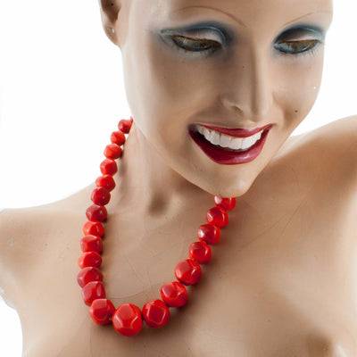 Squarebeat Red Necklace by Cosima Montavoci - Co Glass Jewellery