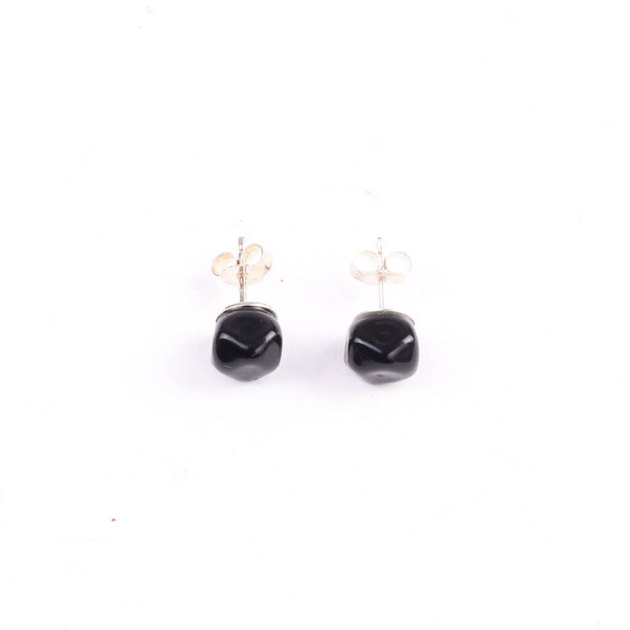 Squarebeat Black Stud Earrings