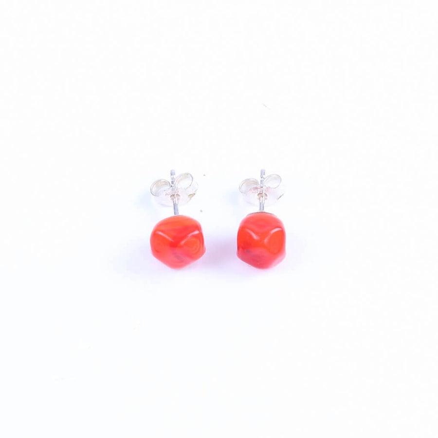 Squarebeat Red Stud Earrings