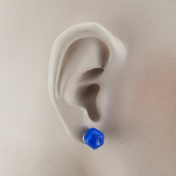 Squarebeat Stud Blue Earrings by Cosima Montavoci - Co Glass Jewellery
