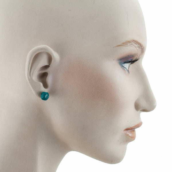 Squarebeat Stud Dark Green Earrings by Cosima Montavoci - Co Glass Jewellery