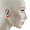 Squarebeat Stud Red Earrings by Cosima Montavoci - Co Glass Jewellery