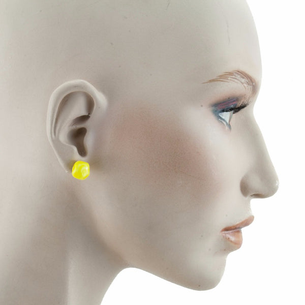 Squarebeat Stud Yellow Earrings by Cosima Montavoci - Co Glass Jewellery