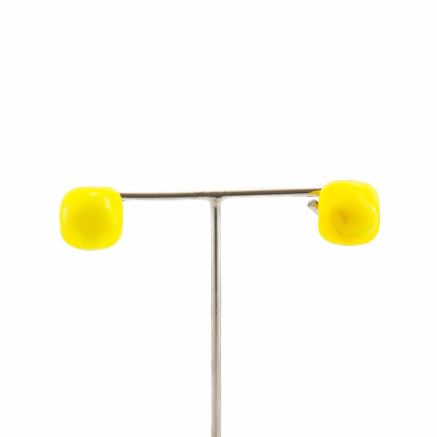 Squarebeat Yellow Stud Earrings